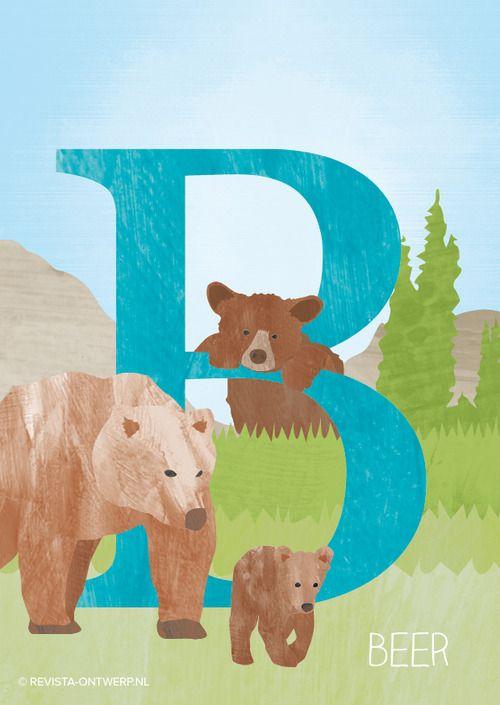 De B is van beer! Als hij geboren wordt is heel klein (300 tot 500 gram), maar als hij volwassen is kan hij wel een paar honderd kilo worden... www.revista-ontwerp.nl