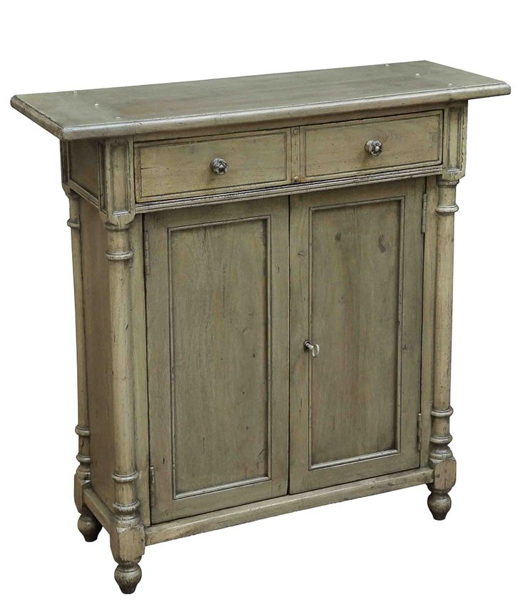 Table Cabinet Shallow Hall Size Beige Antique Driftwood Finish Solid Walnut  New