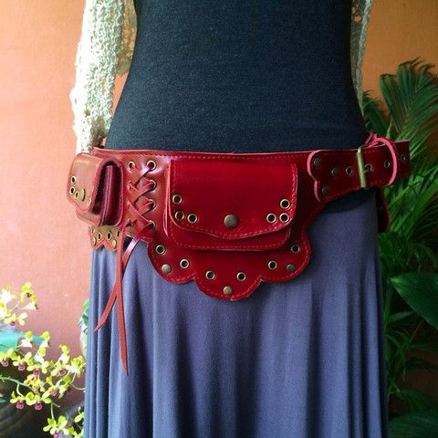 Leather Utility Belt - The Lotus - Festival Hip Belt / Steampunk / Pockets / Fanny Pack