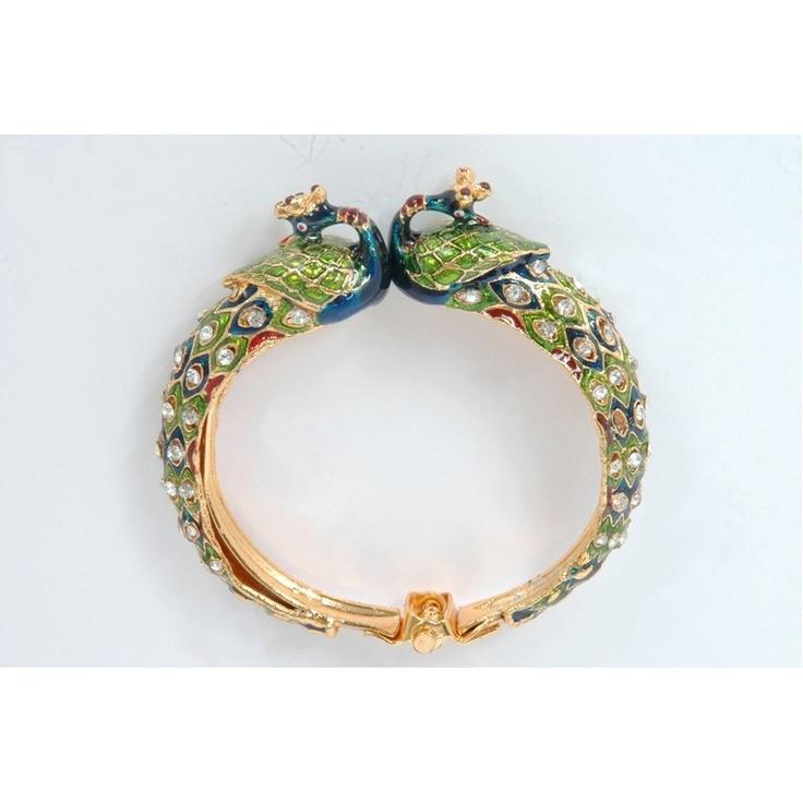 Kundan Meenakari Peacock Cuff Bangle Bracelet - Peacock jewelry