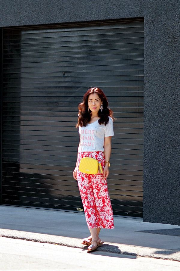 """ILY Couture """"Mommy"""" Tee (c/o)/ Free People Floral Maxi Skirt/Rebecca Minkoff Crossed BodyMini Bag/ ILY Couture Flower Earrings(c/o)J.Crew Je..."""