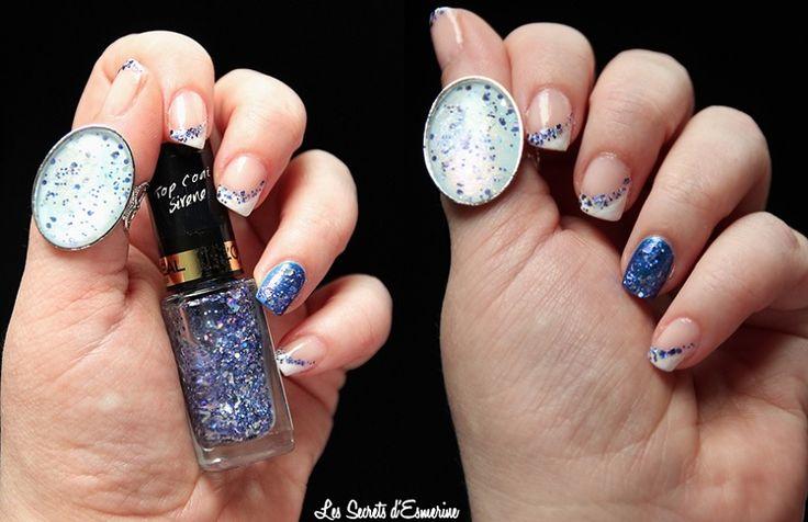 Nail Art : Un feu d'artifice sur les ongles & une Bague qui donne du baume au coeur... Une french bleue avec le top coat sirene de l'oréal