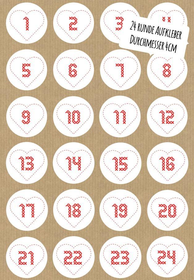Zahlen Adventskalender gestickt Herz rund 24 Stück