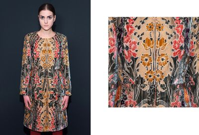 """""""Orange"""" Coat. Made of silk velvet inspired by the seventeenth century """"garden"""" velvets; with typical Art Nouveau style botanical elements and curved stems. The inside is entirely made of silk. DISCOVER THE COLLECTION >"""
