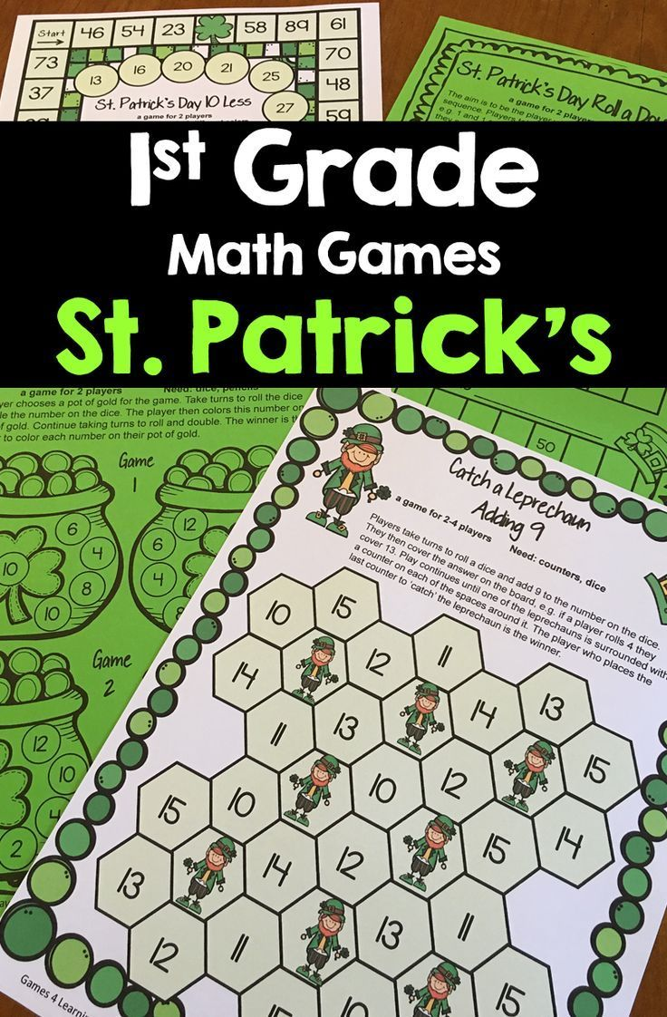 St. Patrick's Day Math Games for First Grade. Bring some green fun into the 1st grade classroom with 14 Printable St. Patrick's day math games including 9 math board games and 5 print and play math sheets. The math board games for St. Patrick's day can be printed on green paper or card or print them in color. $