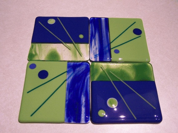 Funky Fused Glass abstract Polka Dots Coasters Trivet by shards57, $40.00