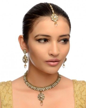 Crystal Stones Necklace, Earrings & Maang Tika- Buy Necklaces,Engagement,The Family,The Best of January,Jewelry Online | Exclusively.in
