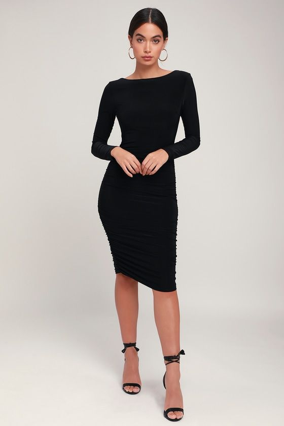 Sweet Thing Black Ruched Long Sleeve Backless Bodycon Dress In 2019