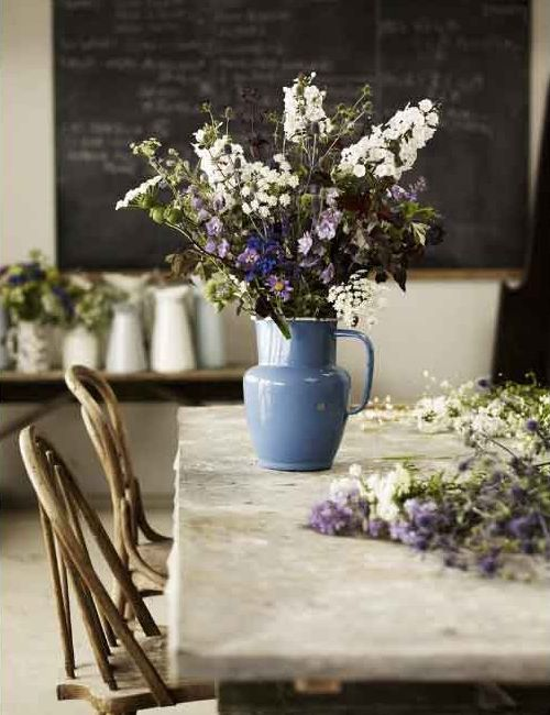 flowers in a jug on the kitchen table. so simple but so pretty