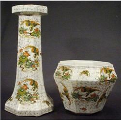 Large octagonal Phoenix ware pottery jardiniere on stand, transfer printed with cranes and peony flo
