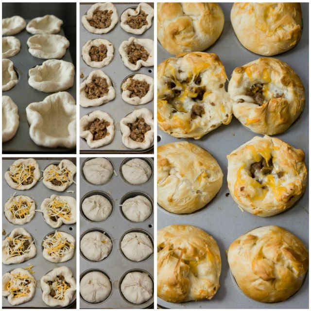 Stuffed Sausage Biscuits  Ingredients: 1 pound breakfast sausage  1/2 c diced onion 1/4 tsp salt  2 cans of Grands Homestyle Biscuits  1 c shredded cheese