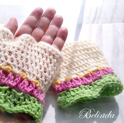 Tulipános kesztyű, Crochet-knit mittens Ruha, divat, cipő, Kendő, sál, sapka, kesztyű, Kesztyű, Meska 1450 Ft