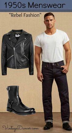 Men's 1950s Rebel / Greaser Style Fashion. Get the look at VintageDancer.com