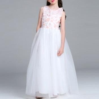 Beautiful 3D Flower Decor Sleeveless Mesh-layered Dress for Girls