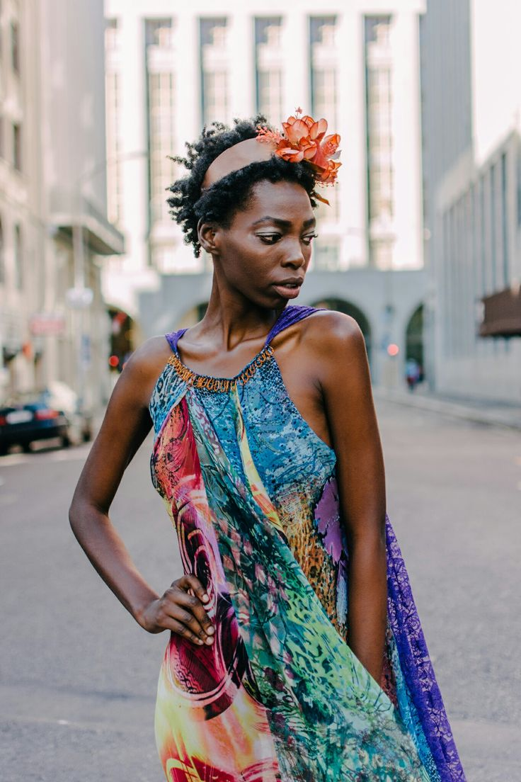 Printed paneled Chiffon and Lace Summer dress.  Credits:  Model: Nandipha Gumede. Photographer: Tina Hsu. Location: Greenmarket Square, Cape Town, South Africa