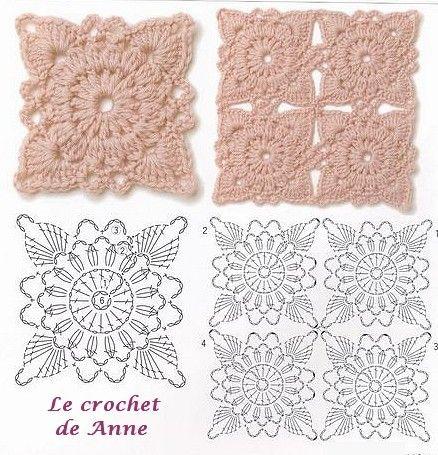 carré étoile rose carres au crochet, des patrons gratuit