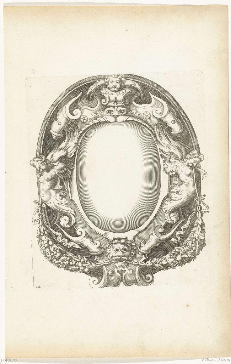 Cartouche met cherubijntje en gevleugelde vrouwen, Pierre Firens, Federico Zuccaro, Pierre Mariette (I), 1613 - 1657