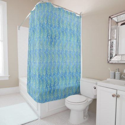Blue Leaf Swirl Beach Cottage Striped Watercolor Shower Curtain - watercolor gifts style unique ideas diy #beachcottagestylediy
