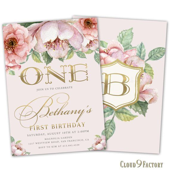 1st Birthday Invitation Girl Floral Invite 2nd 3rd Girls Invites Pink And Gold Invitations