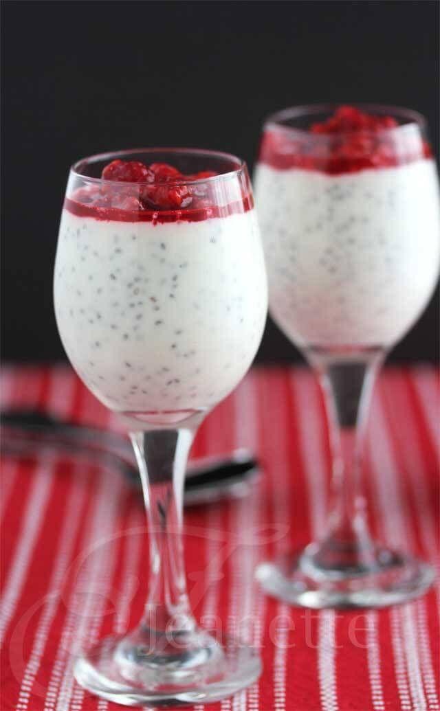 Creamy Coconut Chia Seed Greek Yogurt Pudding with Raspberry Puree Recipe ~ http://jeanetteshealthyliving.com