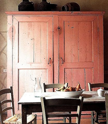 Genial Mediterranean Pink Painted Armoire; Italian Country Living