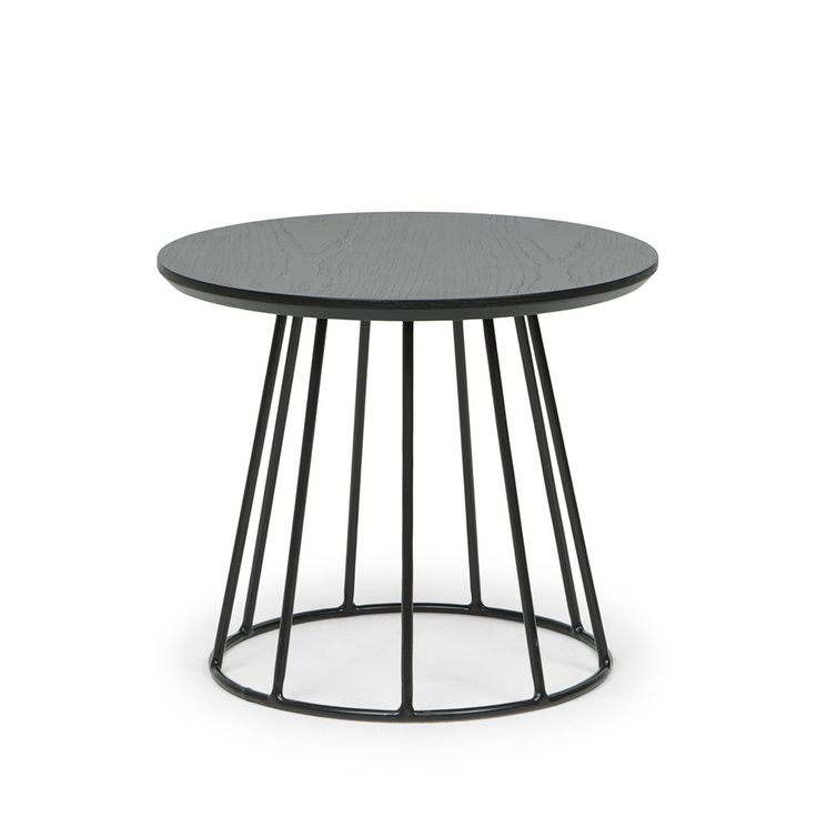 Black Column Tapered Side Table