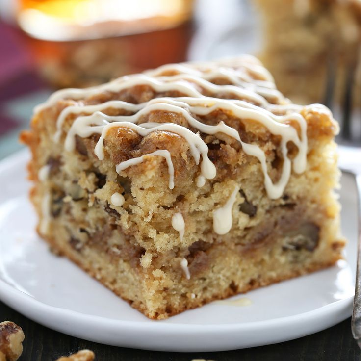 Maple Walnut Coffee Cake is perfectly moist, light, and fluffy while bursting with fall-inspired flavors. Quick and easy recipe, no mixer required!