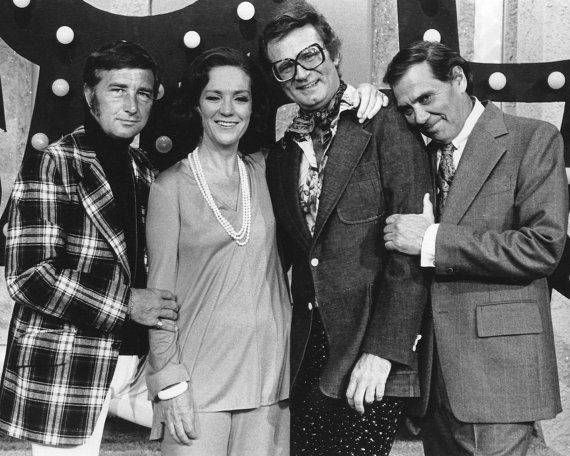 Match Game celebrity panelists Richard Dawson, Brett Somers, and Charles Nelson Reilly with host Gene Rayburn.