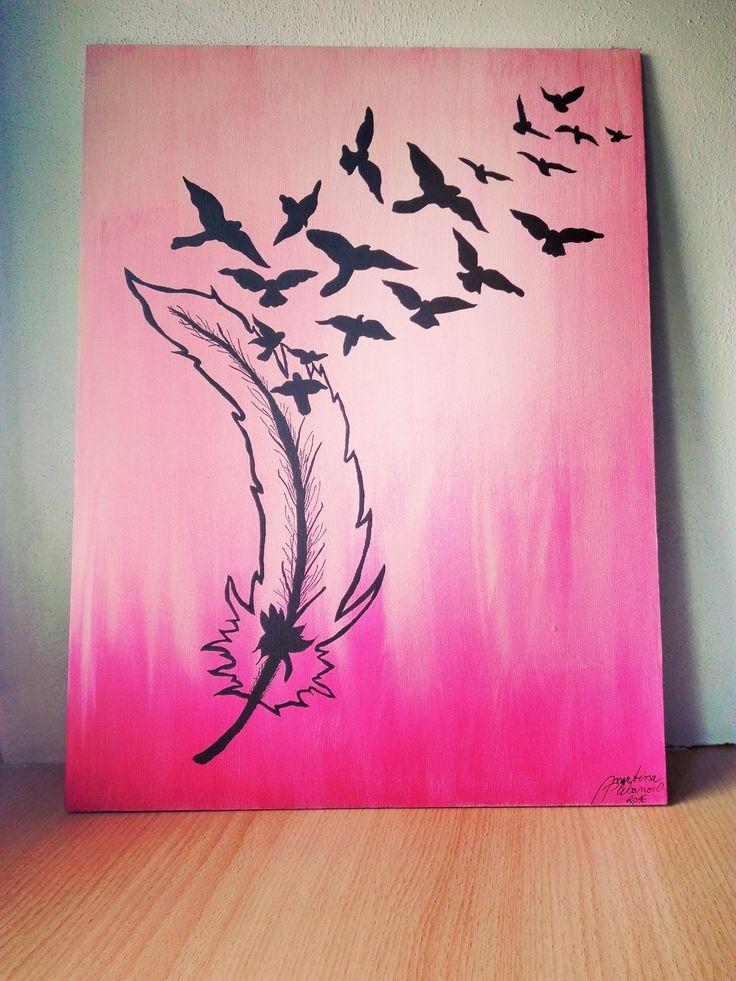 Svoboda ... Freedom Pink art! Feather and bird, silhouette :-)