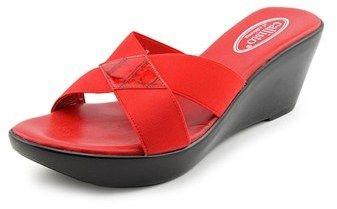Callisto Aura Women Open Toe Canvas Red Wedge Sandal.