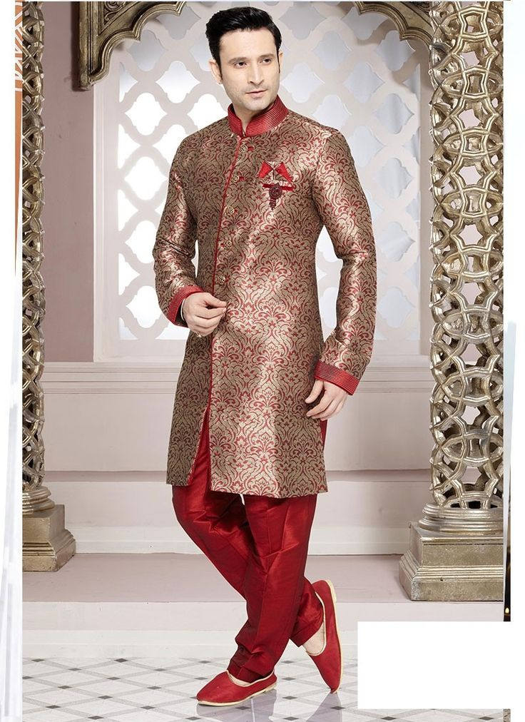 Shop Online Red Brocade Art Silk #MensSherwani @Chennaistore.com