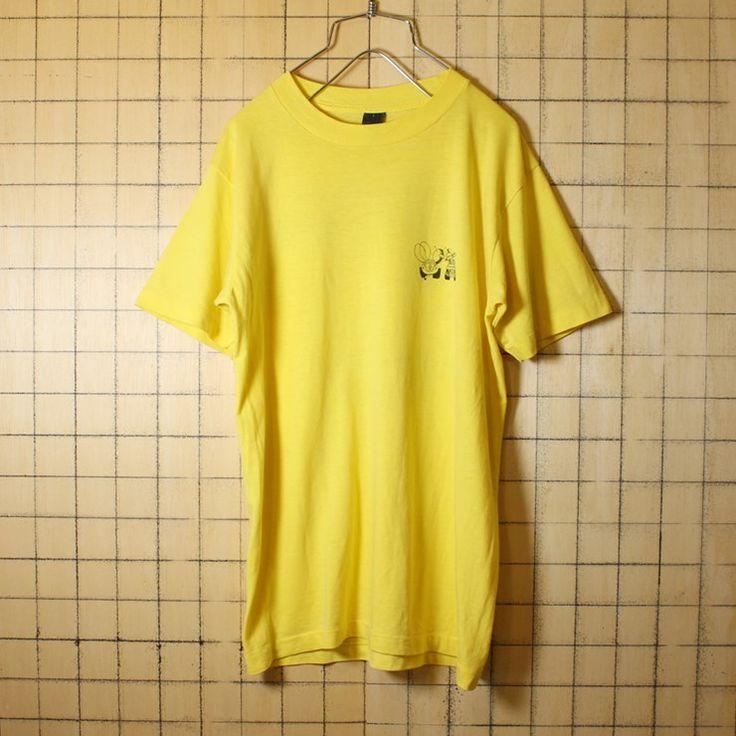 古着 イエロー 両面プリント Tシャツ 半袖 フォルクスワーゲン タイプ1 ビートル タイプ3 メンズS相当 レディースML相当 アメリカ古着