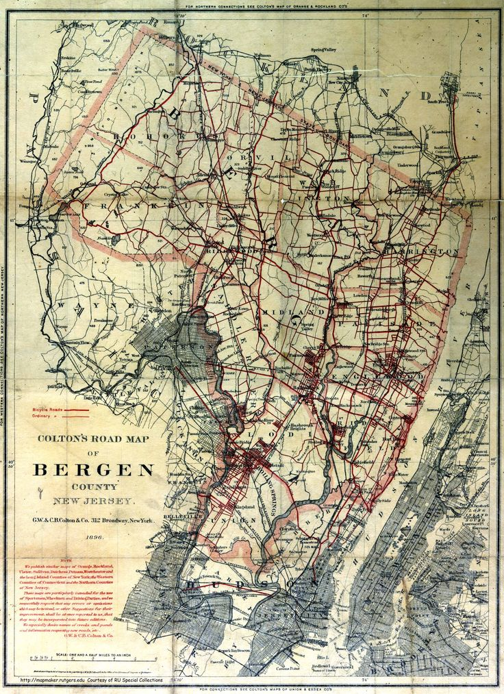 Coltonu0027s Road Map of Bergen County1896 19