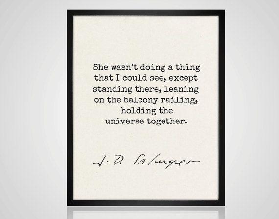JD Salinger Zitat Liebe notieren Salinger von MondayMoonDesign