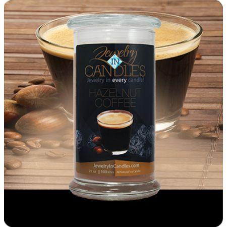 $24.95  Hazelnut Coffee Candle This aroma of freshly brewed coffee beans, is combined with creamy vanilla and a base note of hazelnuts. It is a warm welcome to get the morning going or a quiet evening with friends.