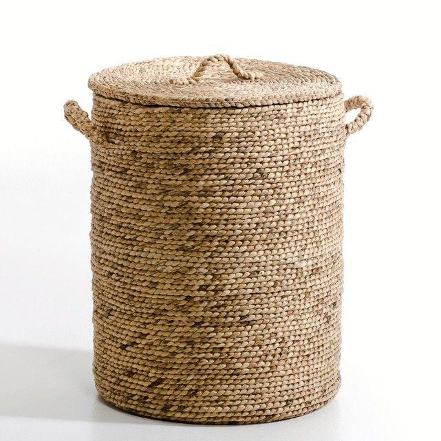 Lian Round Water Hyacinth Storage Basket Woven Laundry Basket