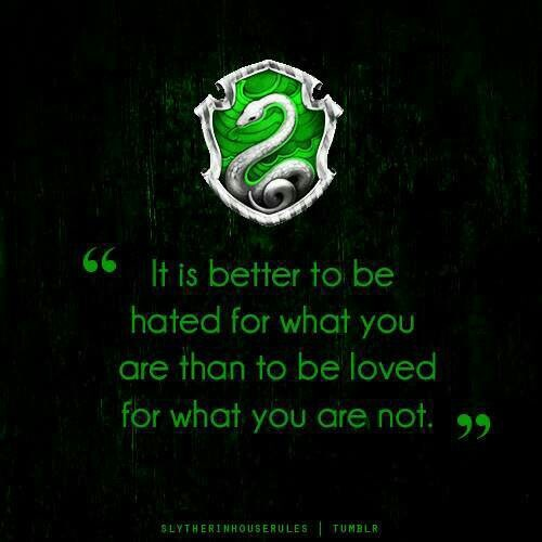 Slytherin - always knew I was a Slytherin and now, WOW...I've always lived by this quote. Uncanny!