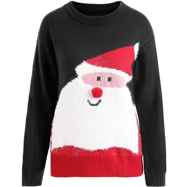 Black ONE SIZE Plus Size Christmas Santa Claus Pom Sweater ($20) ❤ liked on Polyvore featuring tops, sweaters, pom pom tops, womens plus tops, plus size christmas tops, womens plus size tops and christmas tops