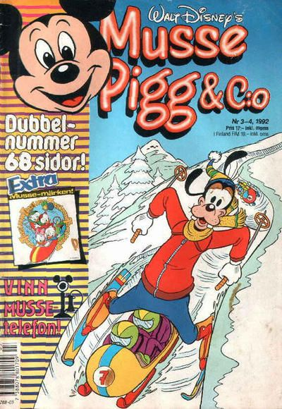 Cover for Musse Pigg & C:o (Serieförlaget [1980-talet]; Hemmets Journal, 1990 series) #3-4/1992
