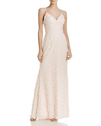 fccaa849c6f Eliza J Floral Lace Gown - blush wedding dress - 3-D floral appliqués gown