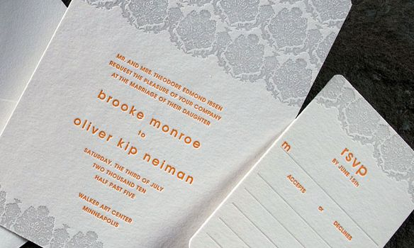 Sutton Letterpress Suite. A ivory and grey invitation with orange writing.