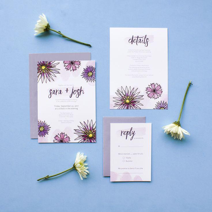 Purple Floral Watercolor Wedding Invitation Suite