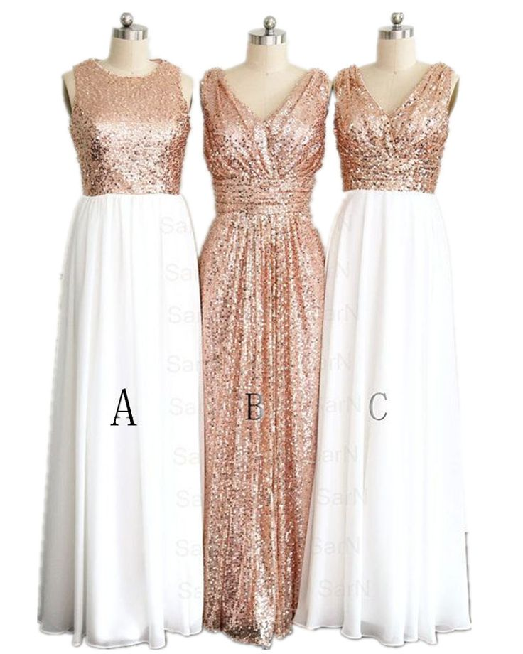 Hot Sale 3 Styles Rose Gold Bridesmaid Dresses Plus Size Hand Made Maid Of Honor Gowns 2016 New