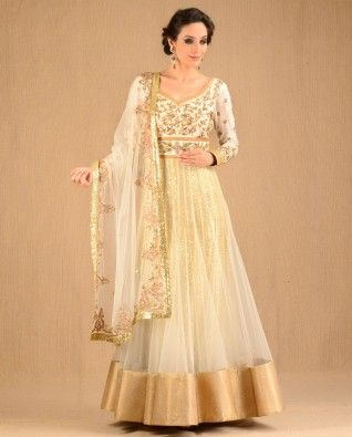 #Exclusivelyin, #IndianEthnicWear, #IndianWear, #Fashion, Golden - White Cocktail Suit With Dupatta