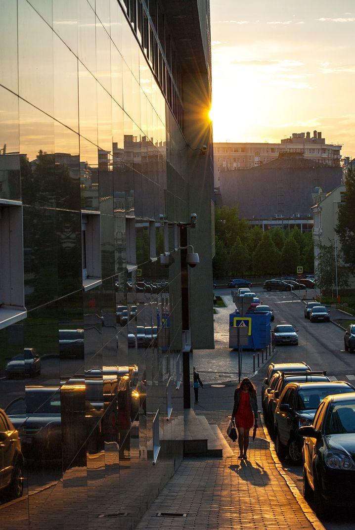 Городской пейзаж, отражения, Москва