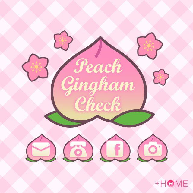 """""""Peach Gingham Check""""   This girly pattern is sure to put a smile on your face! Be sure to try the other fruit/gingham check themes, too!  Download Now:http://bit.ly/2mBDzns  #cute #wallpaper #kawaii #design #icon #plushome #homescreen #widget #deco"""
