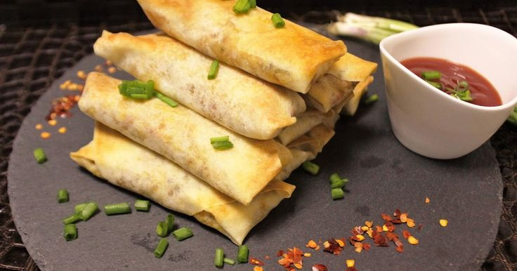 Here are some very easy and delicious crispy baked Veggie Spring Rolls. They are great as appetizers with green chutney / sauce...