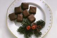 Piezas de dominó con chocolate