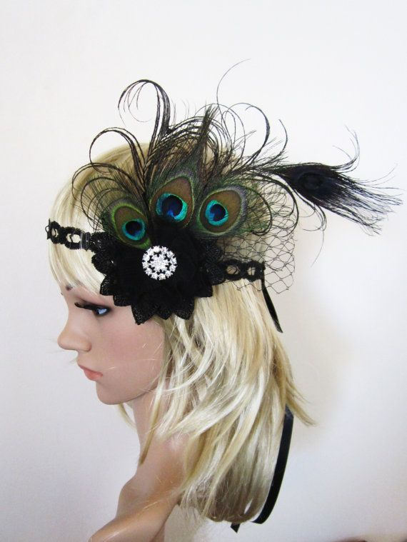 Large Burlesque 1920s flapper style peacock Feather Fascinator Headpiece $53.30