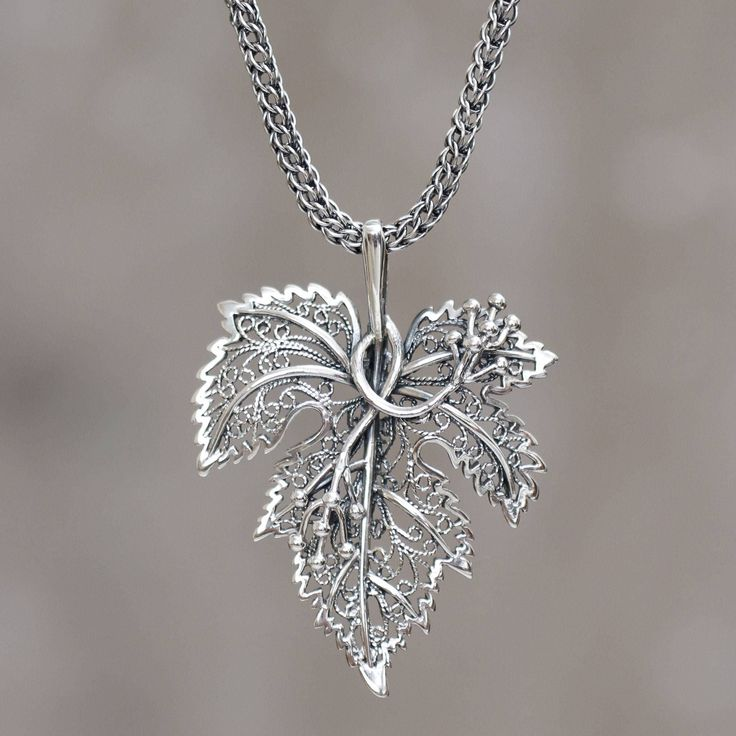 Leaf Shaped Pendant Sterling Silver Artisan Crafted Necklace, 'Morgana'